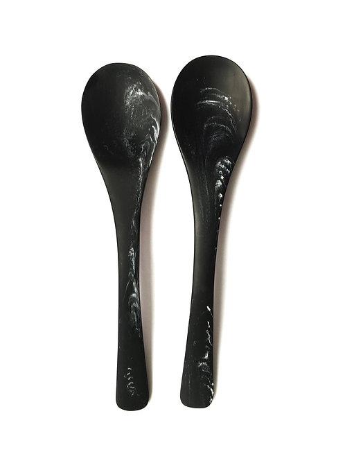 Large Serving Spoons in Black Marble