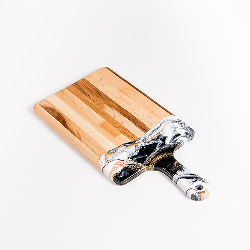 """10"""" x 20"""" Canadian Maple Resin Cheeseboard in Black/White/Gold"""