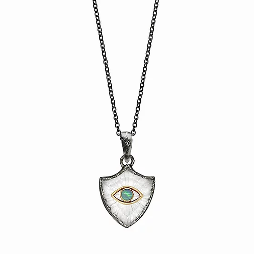 Small Shield Amulet Evil Eye Necklace by Acanthus