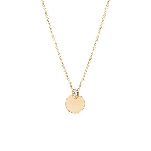 14k Marquis Diamond Horizon Disc Necklace by Zoe Chicco