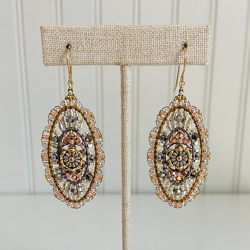 Oval Hand-beaded Earrings by Miguel Ases