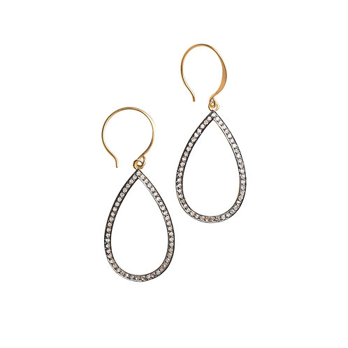 Medium Open Teardrop Pave Diamond Earrings