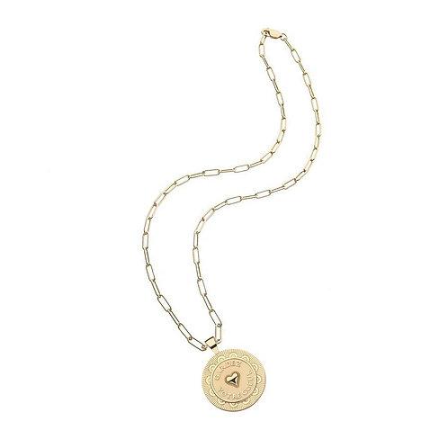 Love Gardez Votre Couer Pendant Coin Necklace by Jane Win
