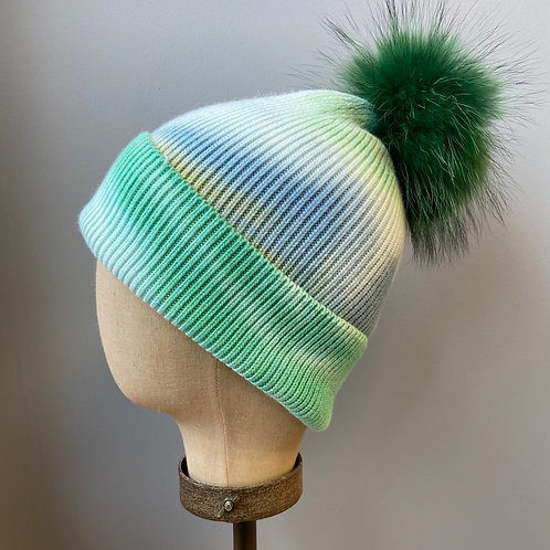 Cotton Tie Dyed Hat with Detachable Fur Pom Pom in Green