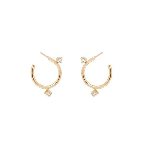 14k Mixed Diamond Small Front to Back Circle Hoops by Zoe Chicco