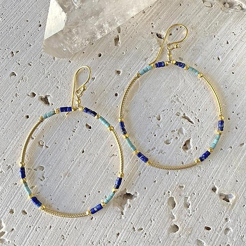 Lapis & Turquoise Hoop Earrings by Robindra Unsworth