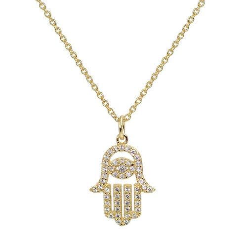 Hamsa Necklace with Crystals