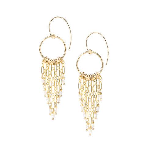 Amani Fringe and Pearl Earrings by Kate Winternitz