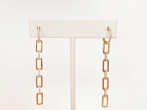 14k Yellow Gold Diamond Link Earring by Sophia by Design