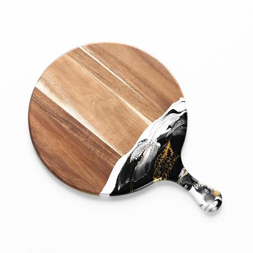 Round Acacia Resin Cheeseboard in Black/White/Gold