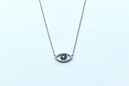 18k White Gold and Sapphire Evil Eye Pendant by Sophia by Design