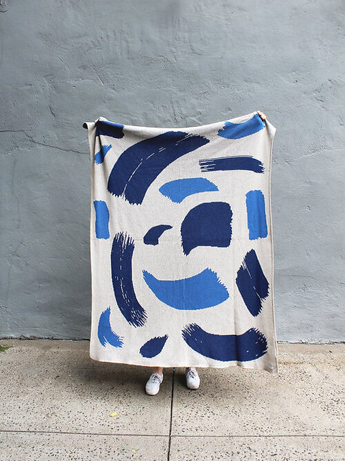Paint Streaks in Cool Tones Knit Throw Blanket