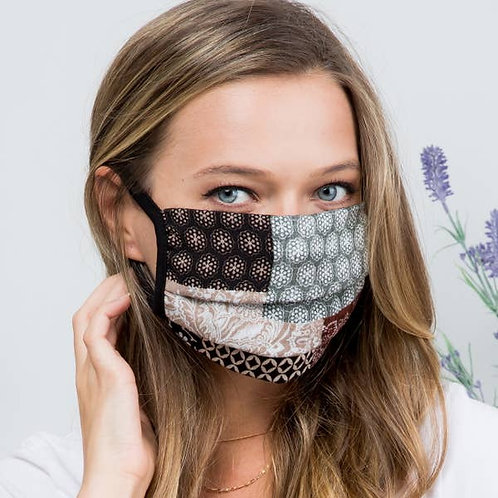 Taupe Patchwork Face Mask