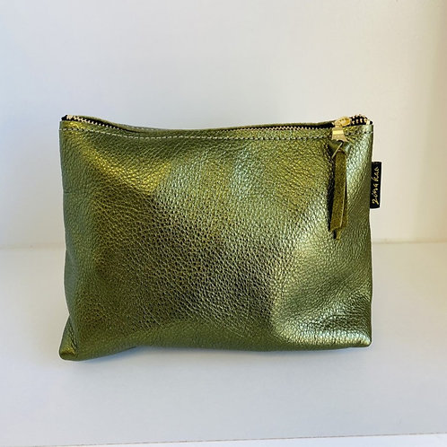 Metallic Green Leather Pouch
