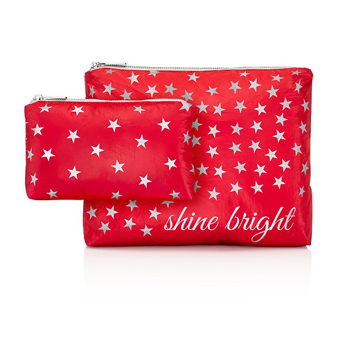 """Set of 2 Travel Bags in Red with """"Shine Bright"""""""