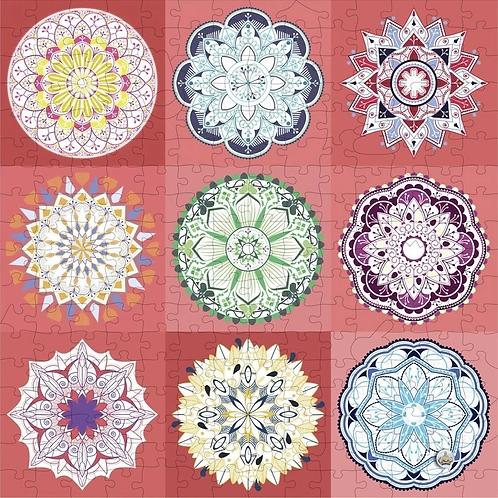 250 Piece Wooden Puzzle: 9 Mandalas