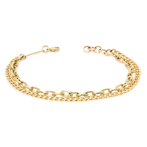 14K Gold Medium Double Chain Bracelet by Zoe Chicco