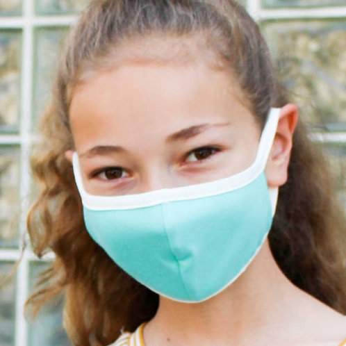 Kids Turquoise Solid Fabric Face Mask