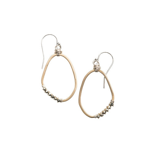 Freeform Gemstone Wrapped Earrings with Pyrite by Original Hardware