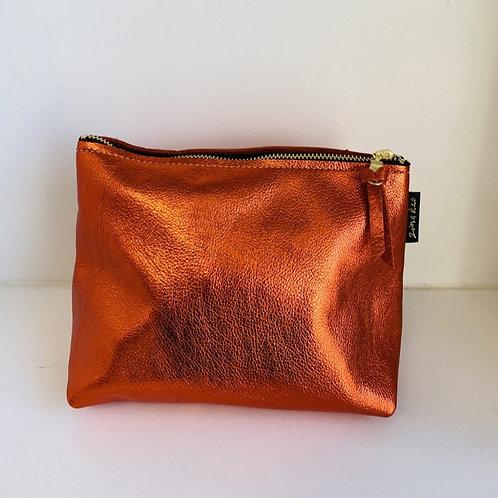 Metallic Orange Leather Pouch
