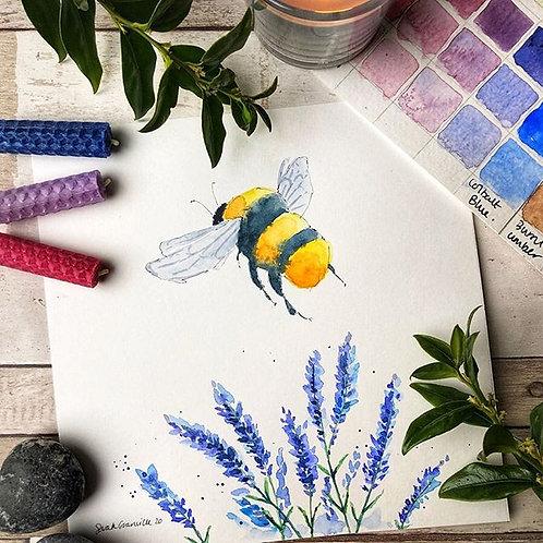 Lavender Bee (Framed)
