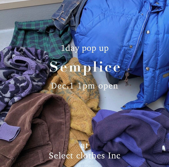 【12/1(sun.) Semplice 1day pop-upstore at Inc】のお知らせ