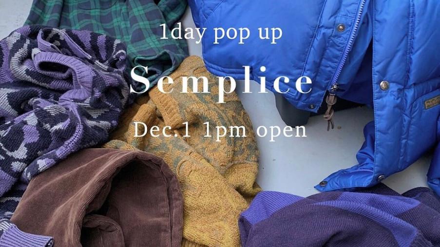 【12/1(sun.) Semplice 1day pop-upstore at Inc】のお知らせ