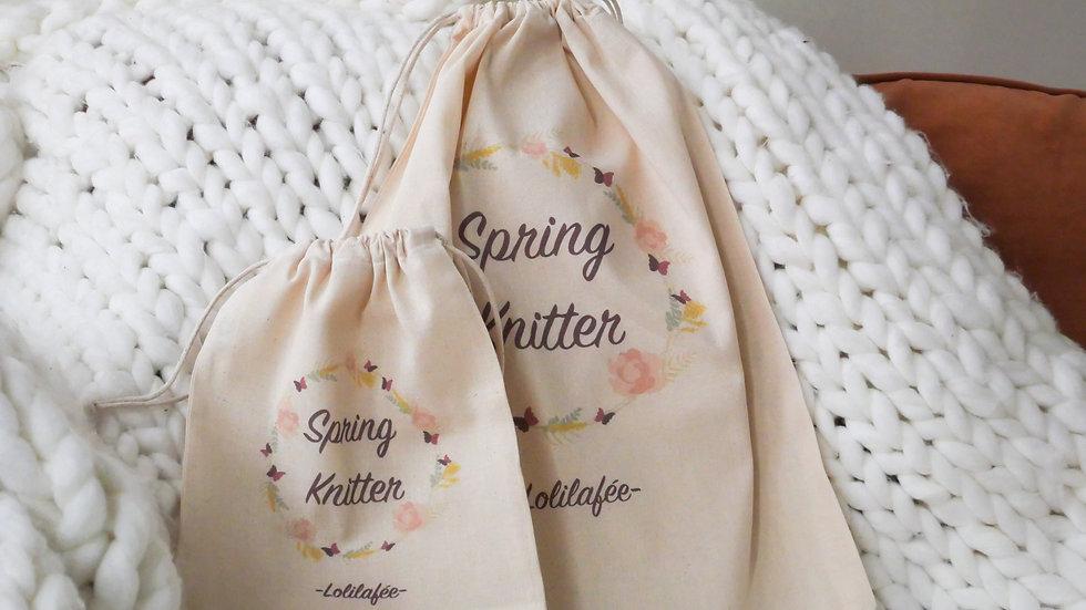 """Pochon en coton - collection """"Spring Knitter"""""""