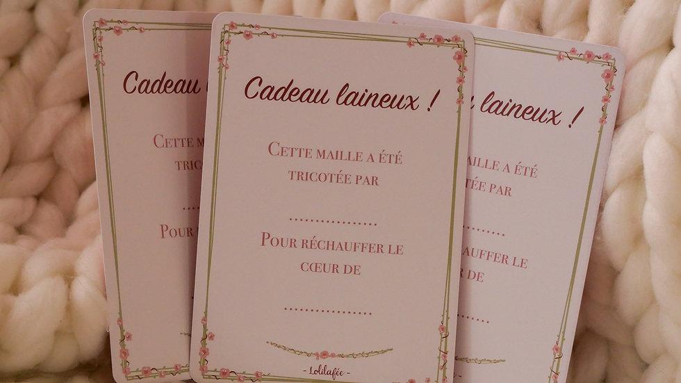 """Cartes cadeau """"Cadeau laineux"""" - lot de 3"""