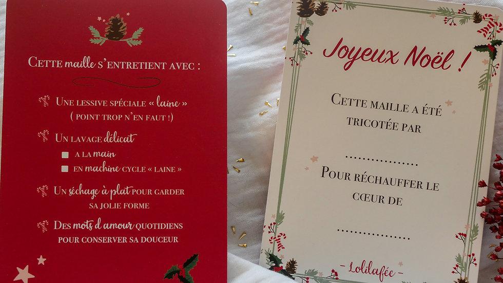 "Cartes cadeau ""Joyeux Noël"" - lot de 3"