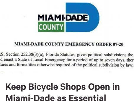 Keep Bicycle Shops Open in Miami-Dade as Essential Businesses