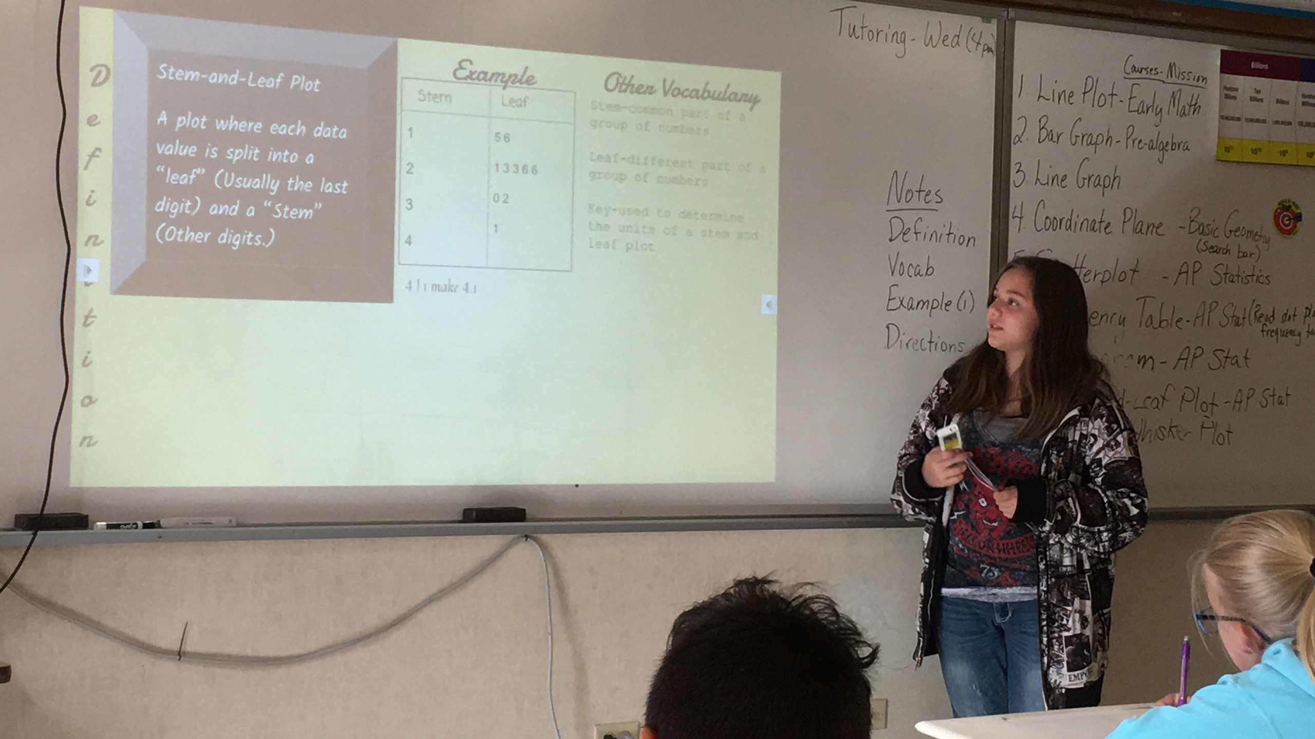 8th Grade Student teaching in Math Class.