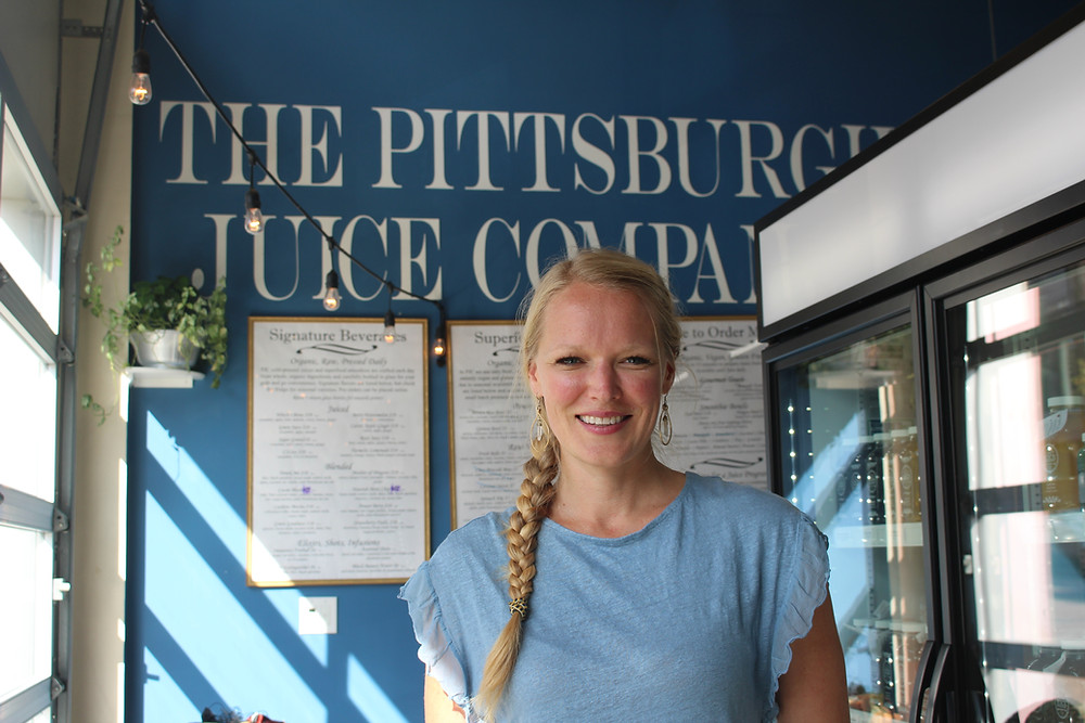 Naomi Homison, owner of The Pittsburgh Juice Company, inside their Lawrenceville Location