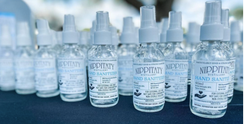 Nippitaty Distillery-Produced hand sanitizer bottles