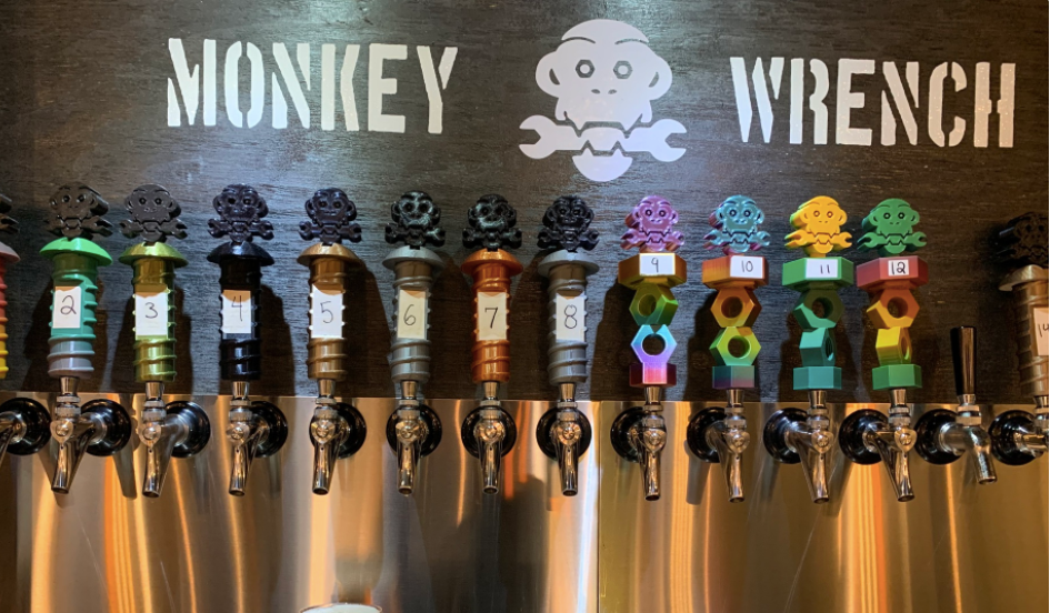 Beer tap at Monkey Wrench Brewing in Suwanee, Georgia