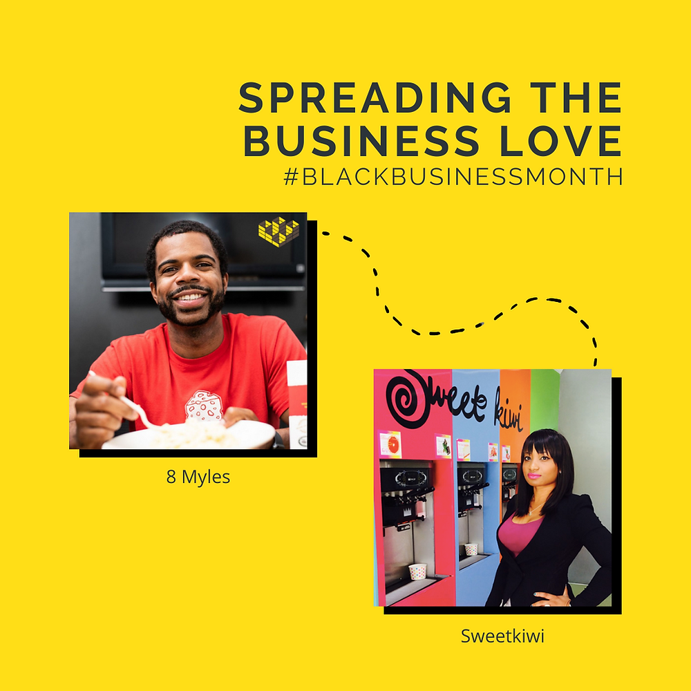 """A graphic that reads """"Spreading the Business Love #BlackBusinessMonth"""" and shows a line going from 8 Myles to Sweetkiwi"""
