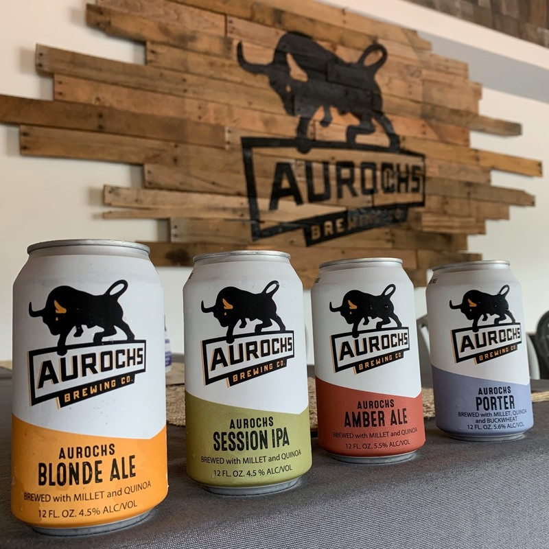 A selection of four Aurochs Brewing Company beers