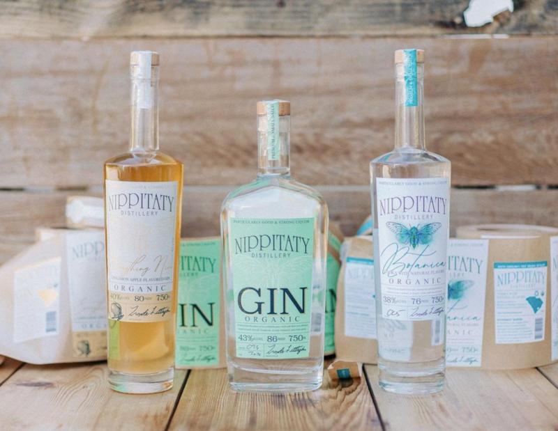 A lineup of Nippitaty's gins and vodkas