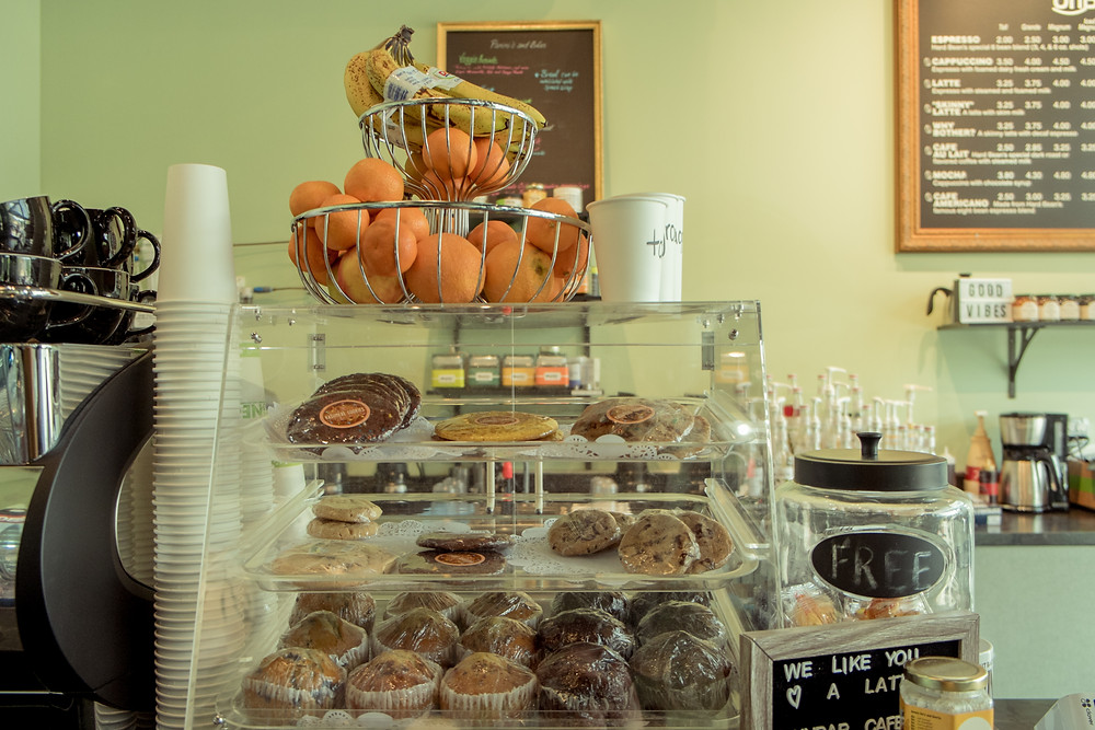 Bakery case at UnBar Cafe restaurant in Cleveland