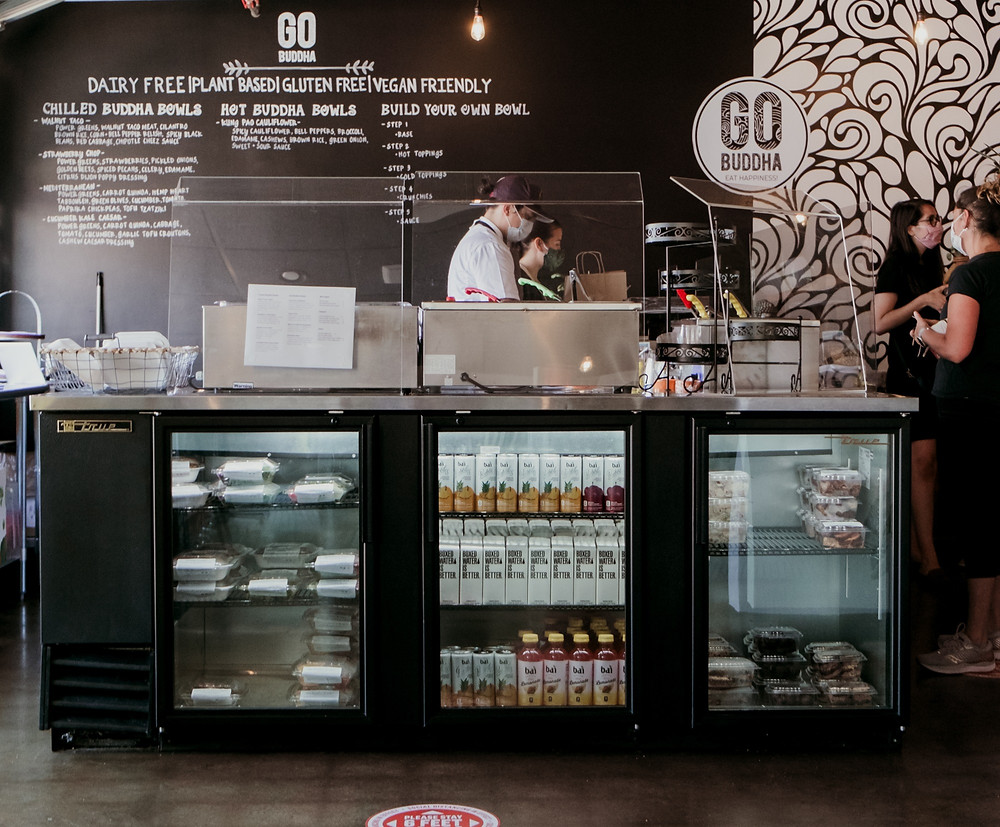 The counter at Go Buddha, a Cleveland meal kit service and restaurant