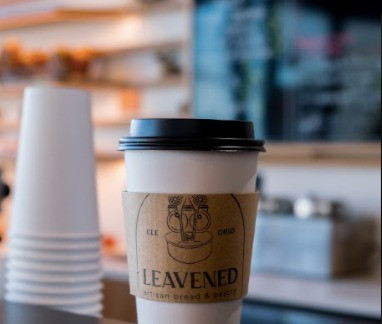 coffee cup from Leavened Bakery in Cleveland, Ohio