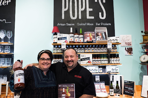 store display of Pope's Artisan Sauces