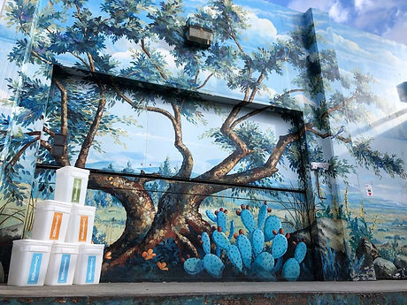 compost buckets in front of a mural of a tree and cacti