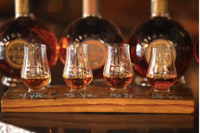a flight of whiskeys from Western Reserve Distillers in Cleveland, Ohio