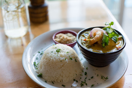 a plate of rice and shrimp stew from Casa Brasil in Pittsburgh