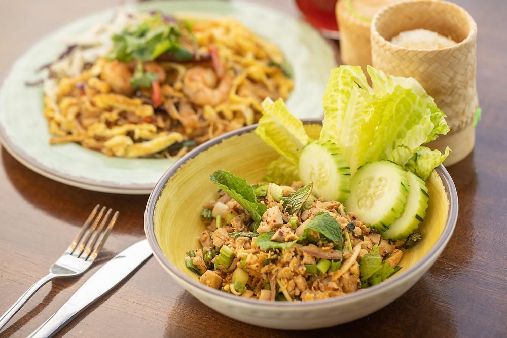 Shot of a menu item at Kiin - pad thai and lettuce wraps