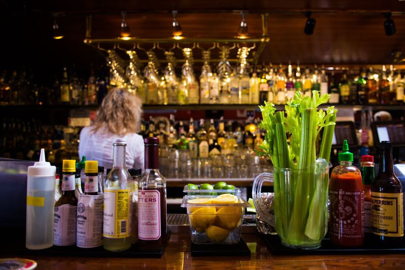 A selection of cocktail fixings on the bar at Valley Tavern, a San Francisco neighborhood pub