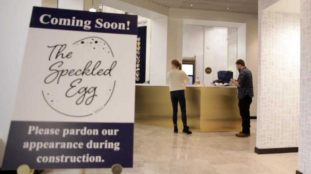 a sign of remodeling at The Speckled Egg Restaurant in Downtown Pittsburgh