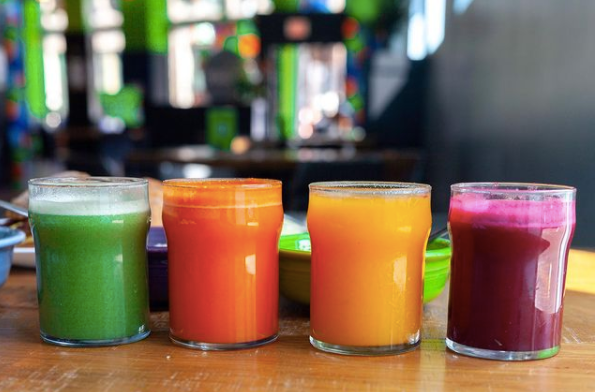 rainbow colored smoothie shots at Square Cafe