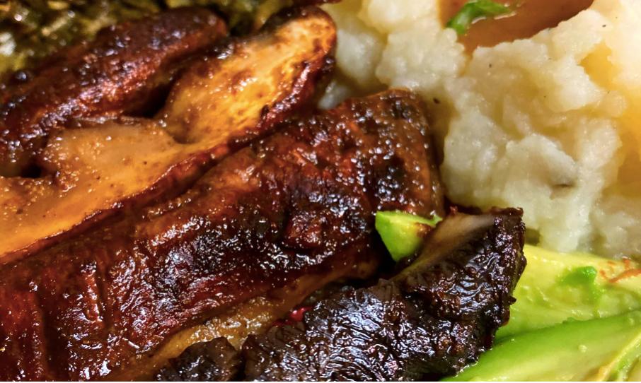 a plate of Vegan Soul food